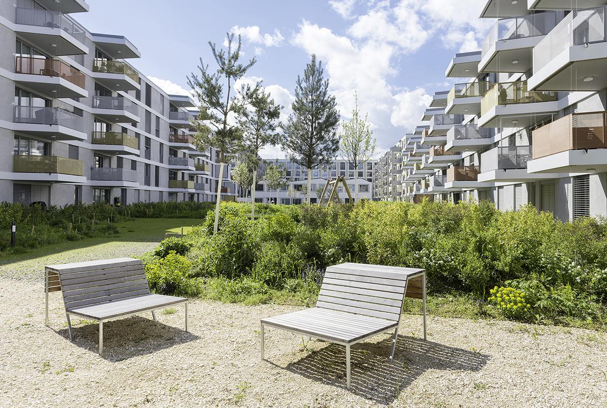 Blick auf die Wohnungen vom 2000-Watt-Areal Erlenmatt West in Basel
